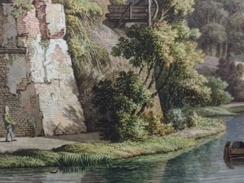 Historische prent Sonnenborgh, vanuit praktisch zelfde hoek als vorige foto