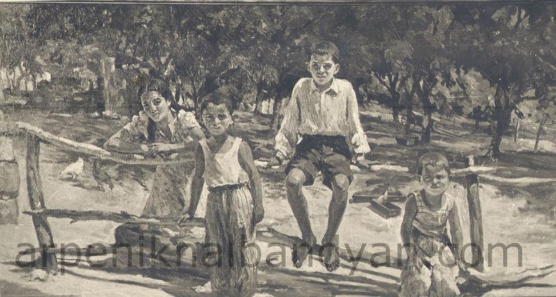 Հետաքրքրասերները, 1955, կտավ, յուղաներկ, 210x130 / The curious children Oil on Canvas / Любопытные, х., м.