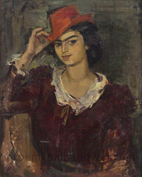 Կարմիր գլխարկով աղջիկը (Լ.Բաժբեուկ-Մելիքյանի դիմանկարը), 1942, կտ., յուղ., 56×45.5, ՀԱՊ / The Girl With The Red Hat. Oil on Canvas,NGA / Девушка в красной шляпе (Портрет Лавинии Бажбеук-Меликян), х., м.,НГА