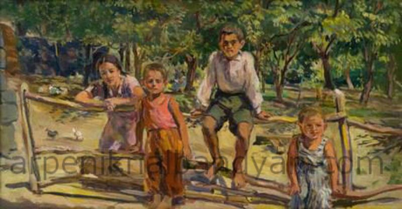 Հետաքրքրասերները (էսքիզ). 1955, կտավ, յուղաներկ 38,5x74,ՀԱՊ /The Curious, sketch. Oil on Canvas, NGA / Любопытные, эскиз, холст, масло, НГА