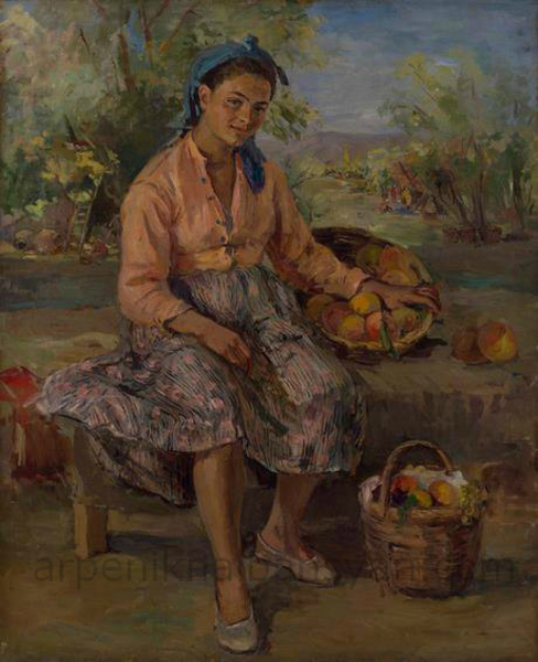 Կոլտնտեսուհին հանգստի ժամին. 1947, կտ., յուղ., 128×104, ՀԱՊ / Collective farmer taking a break Oil on Canvas, NGA / Колхозница в час отдыха, х., м.,НГА