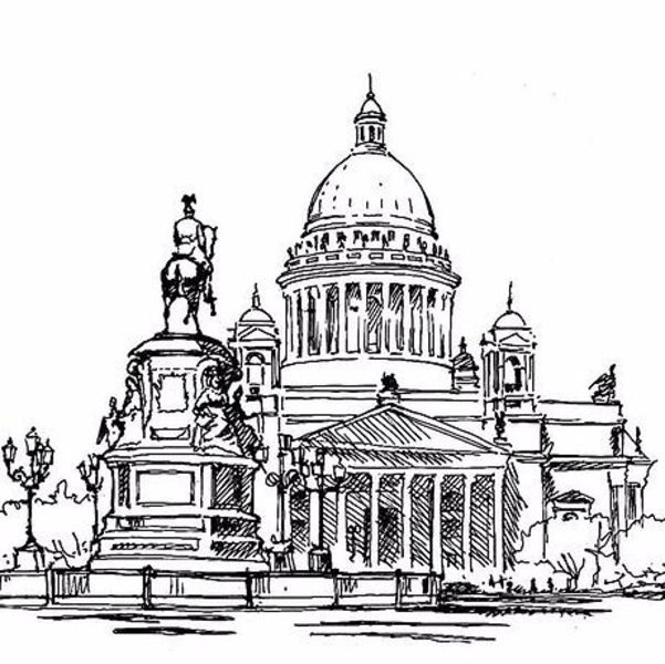 Исаакиевский собор черно белая картинка