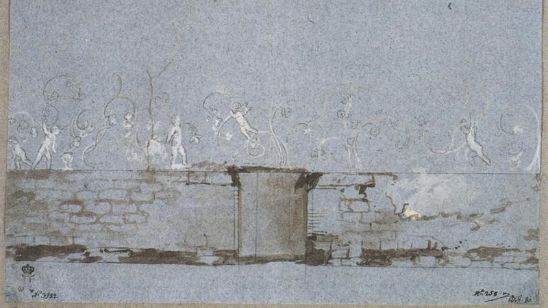Gouache di Jean Houel raffigurante le decorazioni a stucco sulle pareti della sala a pilastri