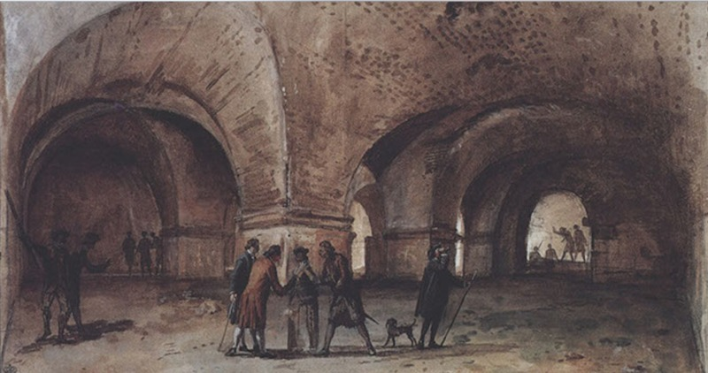 Gouache di Jean Houel raffigurante la sala a pilastri