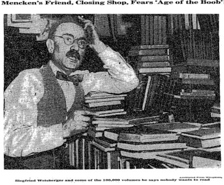 Siegfried Weisberger, proprietor of the Peabody Book Shop and friend of H.L. Mencken, despairing at the American reading public in 1940 (New York Times/AP)