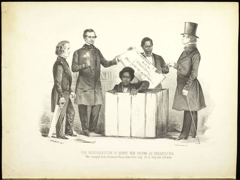 Antislavery print celebrating the moment fugitive slave Henry Box Brown emerged from his crate in Philadelphia. Brown, with the assistance of the Pennsylvania Anti-Slavery Society, escaped slavery by having himself shipped to Philadelphia.