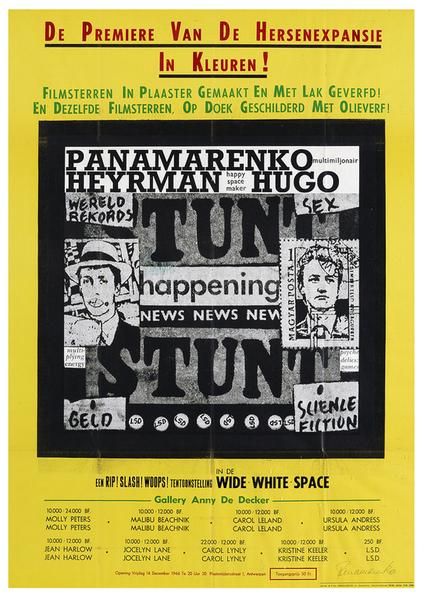 Affice voor de Première van de Hersenexpansie in Kleuren in de Wide White Space Gallery. Deze happening vond plaats in de WWSG in 1966 en werd uitgevoerd door Panamarenko en Hugo Heyrman. ©M HKA